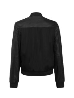 Women's Elegant Black Bomber Leather Jacket: Fairlie