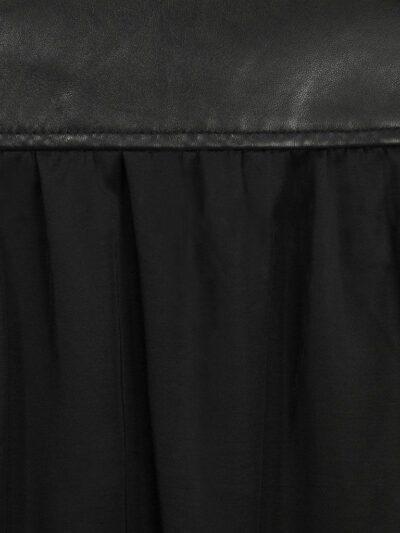 Womens Simple Black Bomber Leather Jacket - Back Shoulder - Fa