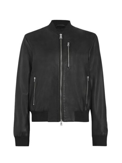 Womens Simple Black Bomber Leather Jacket - Front - Fairlie