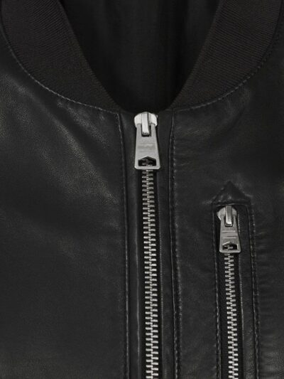 Womens Simple Black Bomber Leather Jacket - Front Zip - Fairli