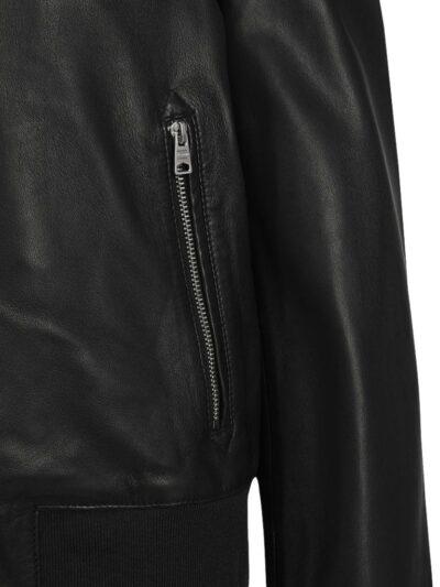 Womens Simple Black Bomber Leather Jacket - Pocket Zip - Fairl