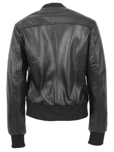 Womens Stylish Black Bomber Leather Jacket - Back - Henley