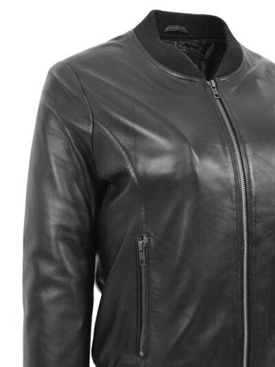 Womens Stylish Black Bomber Leather Jacket - Closer - Henley