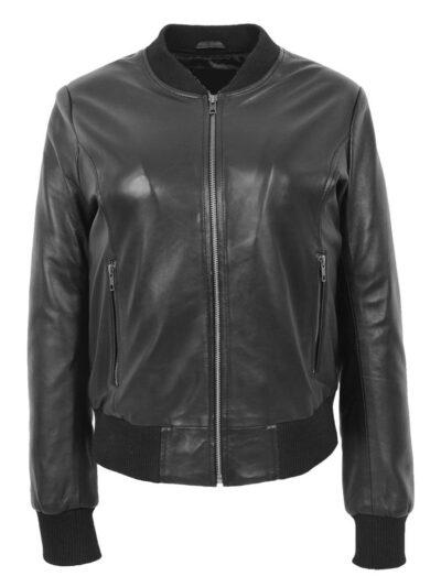 Womens Stylish Black Bomber Leather Jacket - Front - Henley