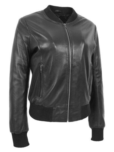 Womens Stylish Black Bomber Leather Jacket - Henley