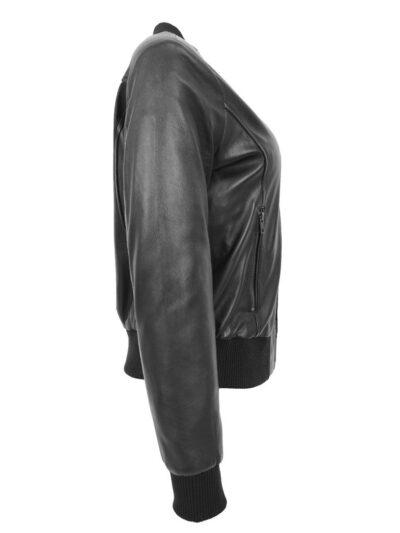 Womens Stylish Black Bomber Leather Jacket -Side - Henley