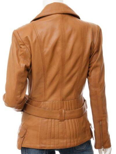Womens Tan Biker Leather Jacket - Back - Hampden
