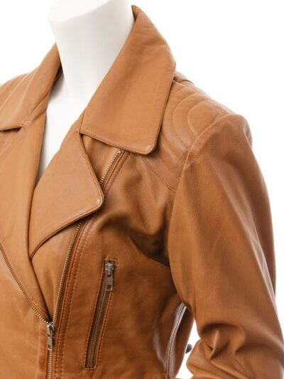 Womens Tan Biker Leather Jacket - Front Closer - Hampden