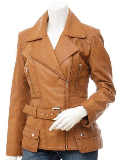Womens Tan Biker Leather Jacket - Front - Hampden