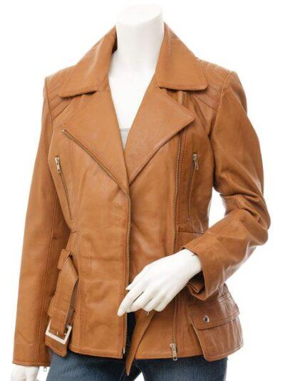 Womens Tan Biker Leather Jacket - Front Open Belt - Hampden