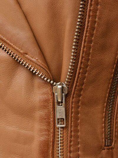 Womens Tan Biker Leather Jacket - Front Zip - Hampden