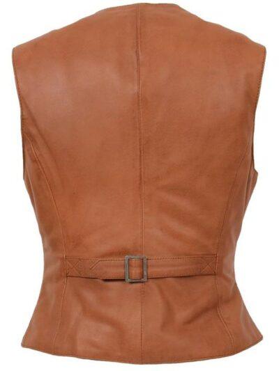 Womens Tan Leather Vest - Back - Kinloch