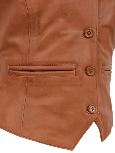 Womens Tan Leather Vest - Closer - Kinloch