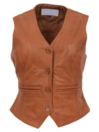Womens Tan Leather Vest - Front - Kinloch