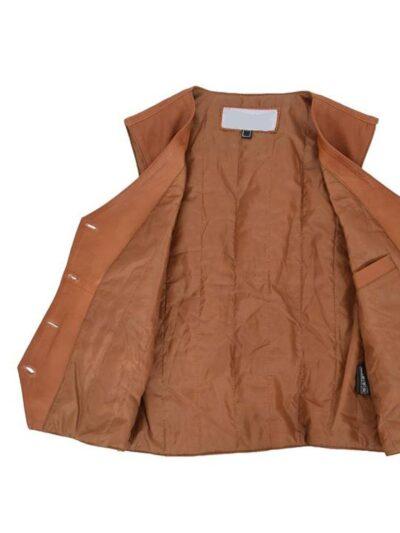 Womens Tan Leather Vest - Inner - Kinloch