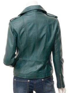 Women's Teal Asymmetric Biker Leather Jacket: Gore