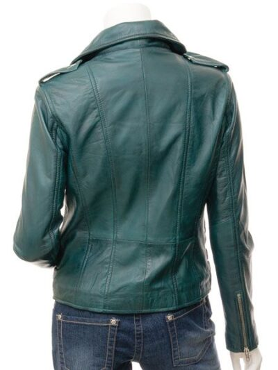 Womens Teal Biker Leather Jacket - Back - Gore