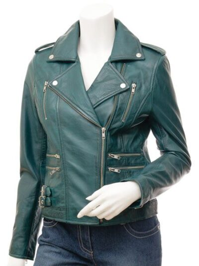 Womens Teal Biker Leather Jacket - Front Close - Gore
