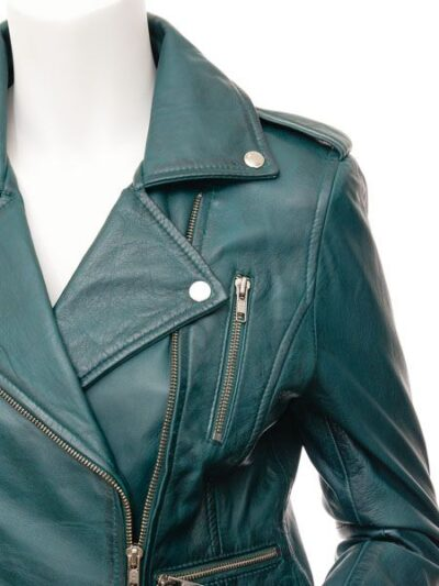 Womens Teal Biker Leather Jacket - Front Closer - Gore