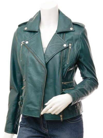 Womens Teal Biker Leather Jacket - Front Open - Gore
