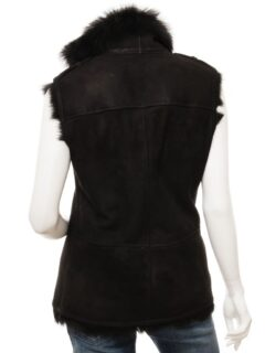 Women's Black Toscana Shearling Leather Gilet: Twizel