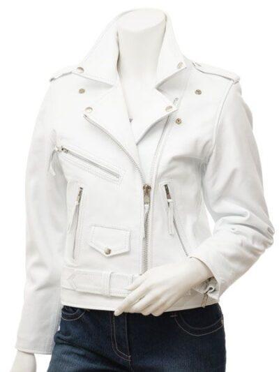 Womens White Biker Leather Jacket Extra Zip -