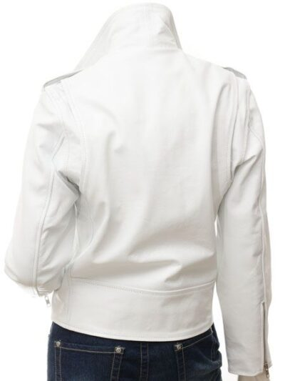 Womens White Biker Leather Jacket Extra Zip - Back - Horeke