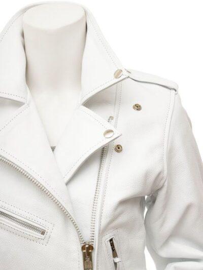 Womens White Biker Leather Jacket Extra Zip - Front Closer - Horeke