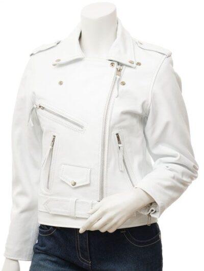 Womens White Biker Leather Jacket Extra Zip - Front Zip Close - Horeke