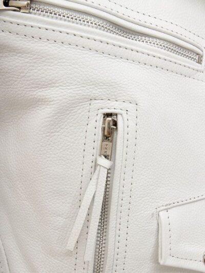 Womens White Biker Leather Jacket Extra Zip - Front Zip - Horeke