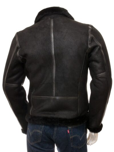 Mens Black Aviator Faux Fur Leather Jacket - Back - Brighton