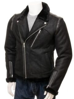 Men's Black Aviator Faux Fur Leather Jacket: Brighton
