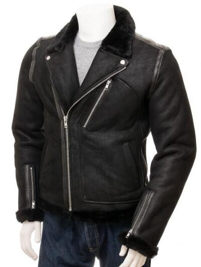 Mens Black Aviator Faux Fur Leather Jacket - Front - Brighton