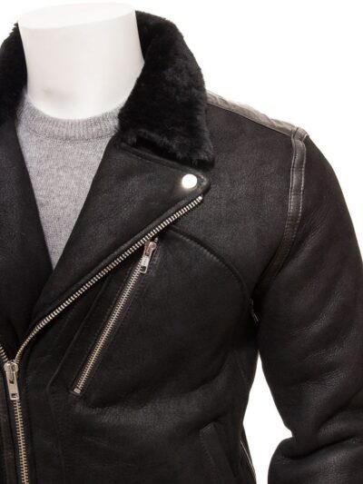 Mens Black Aviator Faux Fur Leather Jacket - Front Close - Brighton