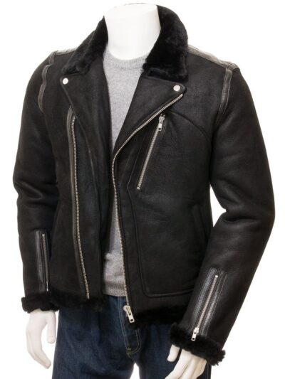 Mens Black Aviator Faux Fur Leather Jacket - Front Open - Brighton