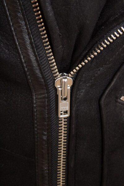 Mens Black Aviator Faux Fur Leather Jacket - Zip - Brighton