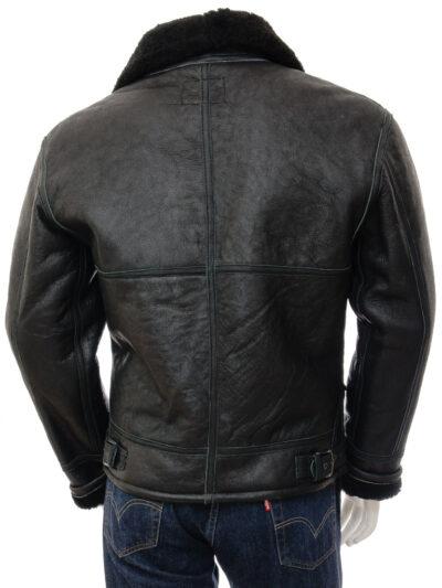 Mens Black Aviator Fur Collar Leather Jacket - Back - Duntroon