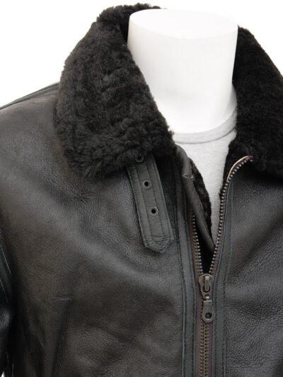 Mens Black Aviator Fur Collar Leather Jacket - Closer - Duntroon
