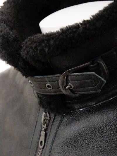 Mens Black Aviator Fur Collar Leather Jacket - Collar - Duntroon