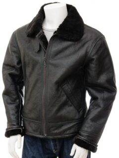 Men's Black Aviator Fur Collar Leather Jacket: Duntroon