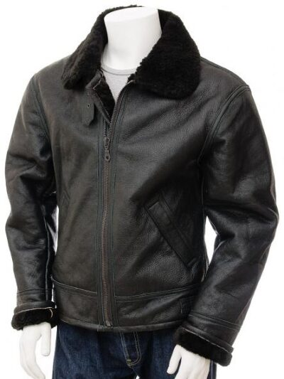 Mens Black Aviator Fur Collar Leather Jacket - Front - Duntroon