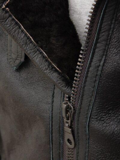 Mens Black Aviator Fur Collar Leather Jacket - Zip - Duntroon
