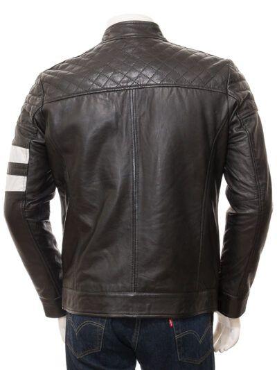 Mens Black Cafe Racer Leather Jacket - Back - Kaeo