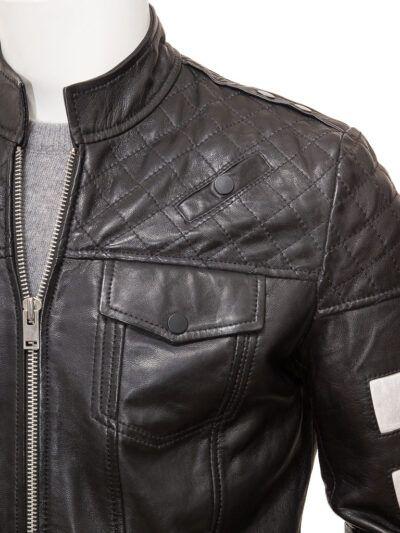 Mens Black Cafe Racer Leather Jacket - Closer - Kaeo