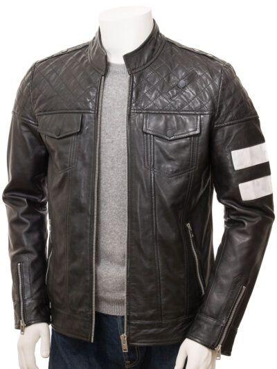 Mens Black Cafe Racer Leather Jacket - Front - Kaeo