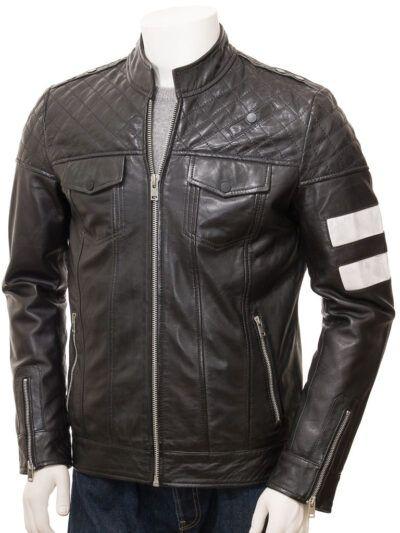 Mens Black Cafe Racer Leather Jacket - Kaeo