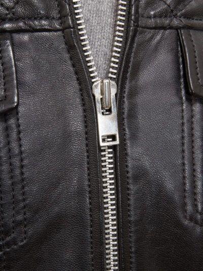 Mens Black Cafe Racer Leather Jacket - Zip - Kaeo