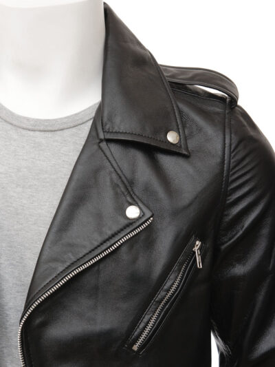 Mens Black Classic Biker Leather Jacket - Closer - Picton