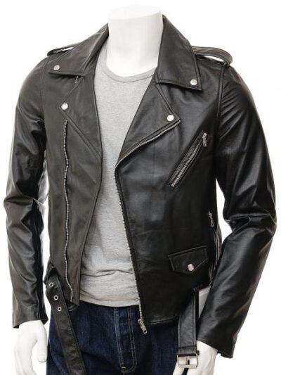 Mens Black Classic Biker Leather Jacket - Front - Picton