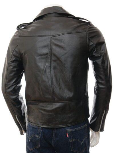 Mens Black Classic Biker Leather Jacket - Picton